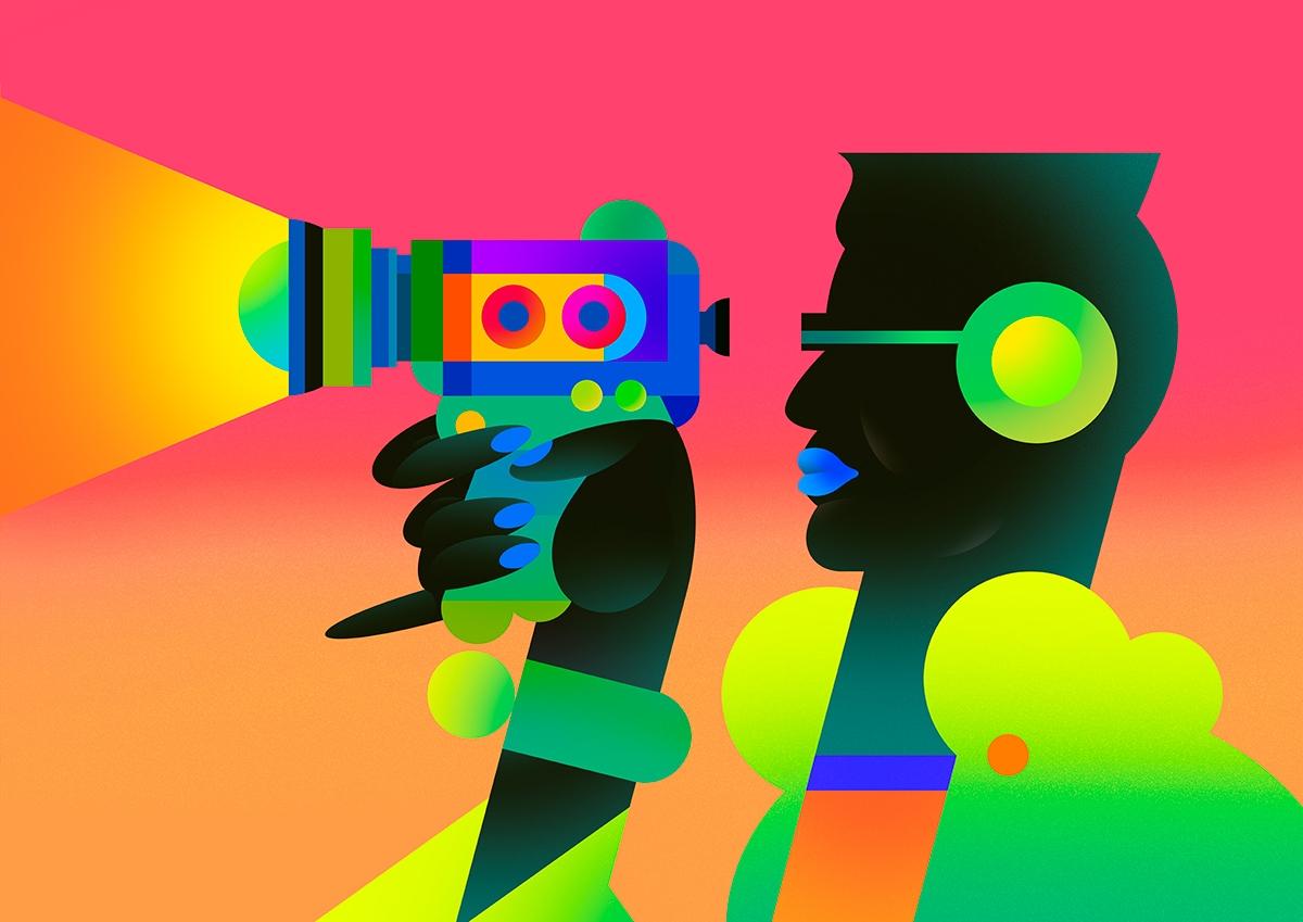 vibrant retro camera